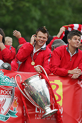 LIVERPOOL, ENGLAND - THURSDAY, MAY 26th, 2005: Liverpool's John Arne Riise lifts the cup as the players parade the European Champions Cup on on open-top bus tour of Liverpool in front of 500,000 fans after beating AC Milan in the UEFA Champions League Final at the Ataturk Olympic Stadium, Istanbul. (Pic by David Rawcliffe/Propaganda)