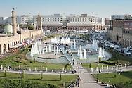 Erbil, Iraqi Kurdistan. The new fountain square in the heart of the bazaar, underneath the Citadel.