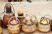 Africa, Ethiopia, Omo River Valley Hamer Tribe handicraft jugs on display