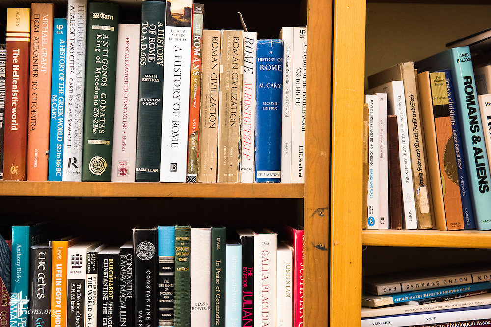 Shelved books in the office of Dr. E. Christian Kopff, associate professor of Classics at the University of Colorado, Boulder, on Wednesday, July 22, 2015, in Boulder, Colo. LCMS Communications/Erik M. Lunsford