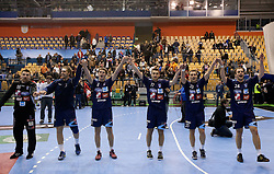 Primoz Prost of Slovenia, Andraz Podvrsic of Slovenia, Sebastian Skube of Slovenia, Dragan Gajic of Slovenia, Luka Zvizej of Slovenia and Uros Zorman of Slovenia celebrate after winning the handball match between National teams of Slovenia and Portugal in the Qualifications of the EHF EURO 2012, on October 27, 2010 at Arena Zlatorog, Celje, Slovenia. Slovenia defeated Portugal 34 - 31.(Photo By Vid Ponikvar / Sportida.com)