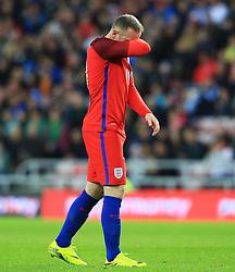 Wayne Rooney of England looks dejected after picking up a knock - Mandatory by-line: Matt McNulty/JMP - 27/05/2016 - FOOTBALL - Stadium of Light - Sunderland, United Kingdom - England v Australia - International Friendly