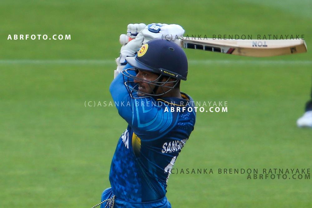 Kumar Sangakkara batting during the 2015 ICC Cricket World Cup Pool A group match between England Vs Sri Lanka at the Wellington Regional Stadium, Wellington, New Zealand.