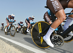 February 24, 2019 - Abu Dhabi, United Arab Emirates - Members of AG2R La Mondiale Team from France in action, during the Team Time Trial, the opening ADNOC stage of the inaugural UAE Tour 2019..On Sunday, February 24, 2019, Abu Dhabi, United Arab Emirates. (Credit Image: © Artur Widak/NurPhoto via ZUMA Press)