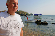 Ad Konings, author and cichlid expert, Lake Malawi, Malawi.
