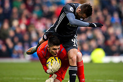 Jamie Vardy of Leicester City falls over Nick Pope of Burnley - Mandatory by-line: Robbie Stephenson/JMP - 19/01/2020 - FOOTBALL - Turf Moor - Burnley, England - Burnley v Leicester City - Premier League