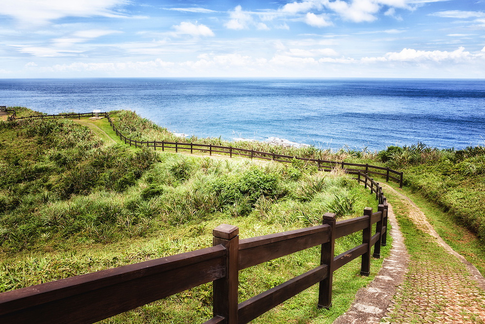 A cliffside trail in northeast Taiwan looks out over the Pacific Ocean.