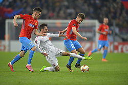 November 2, 2017 - Bucharest, Romania - Hapoel's Isaac Cuenca vies FCSB's Mihai Pintilii and Dennis Man during the UEFA Europa League group G football match Steaua Bucharest FCSB v Hapoel Beer-Sheva FC in Bucharest, Romania on November 2, 2017. (Credit Image: © Alex Nicodim/NurPhoto via ZUMA Press)
