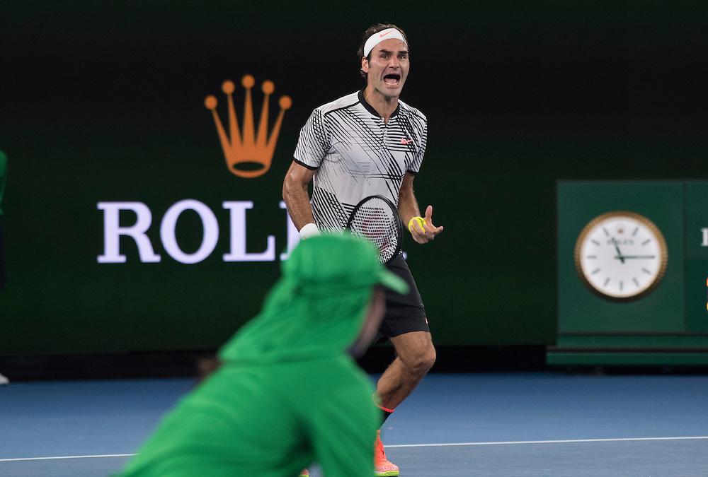Roger Federer of Switzerland after of the men's final on day fourteen of the 2017 Australian Open at Melbourne Park on January 29, 2017 in Melbourne, Australia.<br /> (Ben Solomon/Tennis Australia)
