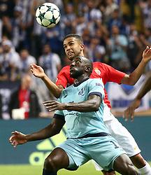 FONTVIEILLE, Sept. 27, 2017  Jorge (Rear) of Monaco vies with Moussa Marega of Porto during the match of Group G of 2017-18 season Champions League in Monaco on Sept. 26, 2017. Porto won 3-0. (Credit Image: © Serge Haouzi/Xinhua via ZUMA Wire)