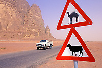 Jordanie. Desert de Wadi Rum. Panneaux de signalisation routiere.