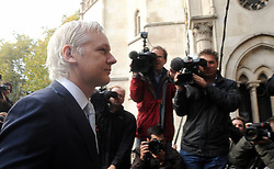 WikiLeaks founder Julian Assange leaves The High Court, London. Mr Assange has failed in his bid to stop his extradition to Sweden to face sexual assault allegations, Wednesday November 2, 2011 Photo By .Steve Maisey/ i-Images.