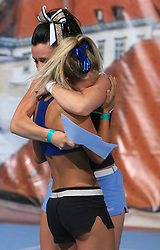 Piia Pajunen and Nikki Elfstrand (blond) of Finland celebrating Nikki's first place in category Individual - Senior during final ceremony at second day of European Cheerleading Championship 2008, on July 6, 2008, in Arena Tivoli, Ljubljana, Slovenia. (Photo by Vid Ponikvar / Sportal Images).