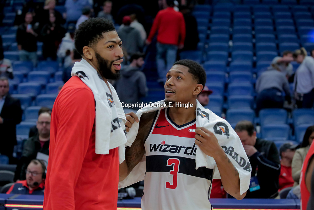 Nov 28, 2018; New Orleans, LA, USA; New Orleans Pelicans forward Anthony Davis (left) and Washington Wizards guard Bradley Beal (3) talk following a game at the Smoothie King Center. Mandatory Credit: Derick E. Hingle-USA TODAY Sports