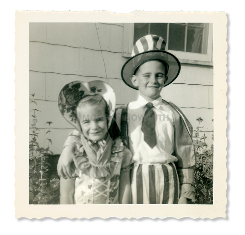 Little girl as little Bo Peep, little boy as Uncle Sam costumes