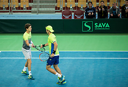 Blaz Rola (R) and Aljaz Bedene of Slovenia playing doubles during the Day 2 of Davis Cup 2018 Europe/Africa zone Group II between Slovenia and Poland, on February 4, 2018 in Arena Lukna, Maribor, Slovenia. Photo by Vid Ponikvar / Sportida