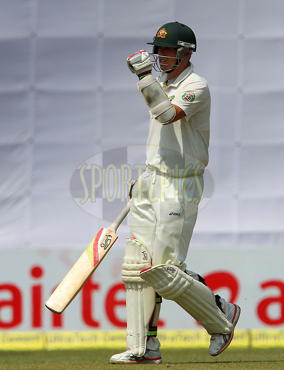 Peter Siddle of Australia celebrates his fifty during day 3 of the 4th Test Match between India and Australia held at the Feroz Shah Kotla stadium in Delhi on the 24th March 2013..Photo by Ron Gaunt/BCCI/SPORTZPICS ..Use of this image is subject to the terms and conditions as outlined by the BCCI. These terms can be found by following this link:..http://www.sportzpics.co.za/image/I0000SoRagM2cIEc