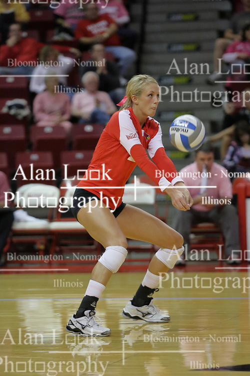 23 October 2010:  Mallory Leggett concentrates on a dig during an NCAA, Missouri Valley Conference volleyball match between the Wichita State Shockers and the Illinois State Redbirds at Redbird Arena in Normal Illinois.