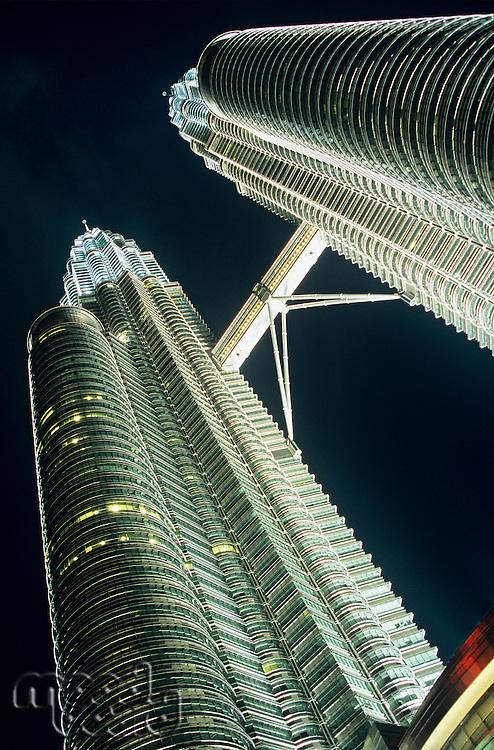 Malaysia Kuala Lumpur Petronas Towers night low angle view