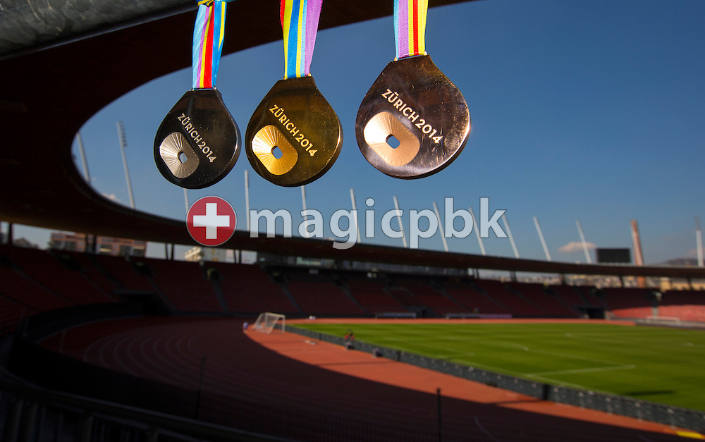 Die Medaillen fuer die Leichtathletik EM 2014 aufgenommen im Stadion Letzigrund in Zuerich am Freitag, 28. April 2014. (Photo by Patrick B. Kraemer/zuerich2014.ch)<br /> <br /> The medals for the Track and Field Atheltics European Championships 2014 are pictured in the stadium Letzigrund in Zurich, Switzerland, Friday, March 28, 2014. (Photo by Patrick B. Kraemer/zuerich2014.ch)