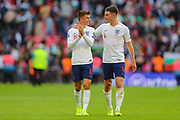 Mason Mount of England and Declan Rice of England discuss their team winning the match after the UEFA European 2020 Qualifier match between England and Bulgaria at Wembley Stadium, London, England on 7 September 2019.