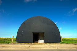 The gunnery dome, used for training members of the RAF Regiment to<br /> use light anti-aircraft guns for airfield protection during and after World War 2, Langham Airfield, North Norfolk Coast, England, United Kingdom.