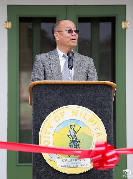 Mayor Jose Esteves shares stories of the restoration process of the Alviso Adobe buildings during the Alviso Adobe Park opening ceremony at Alviso Adobe Park in Milpitas, California, on March 16, 2013. (Stan Olszewski/SOSKIphoto)