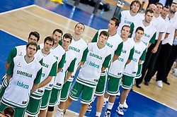 Slovenian team listening to the national anthem during the EuroBasket 2009 Group F match between Slovenia and Turkey, on September 16, 2009 in Arena Lodz, Hala Sportowa, Lodz, Poland.  (Photo by Vid Ponikvar / Sportida)