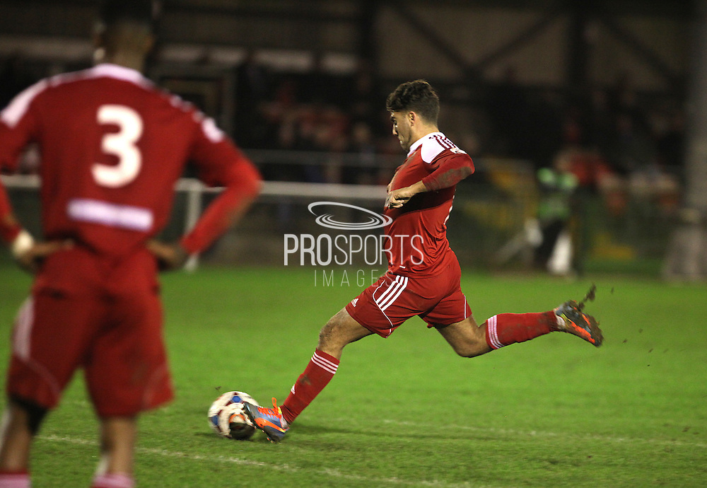 Whitehawk midfielder Scott Neillson scores from a free-kick during the FA Trophy match between Whitehawk FC and Dover Athletic at the Enclosed Ground, Whitehawk, United Kingdom on 12 December 2015. Photo by Bennett Dean.