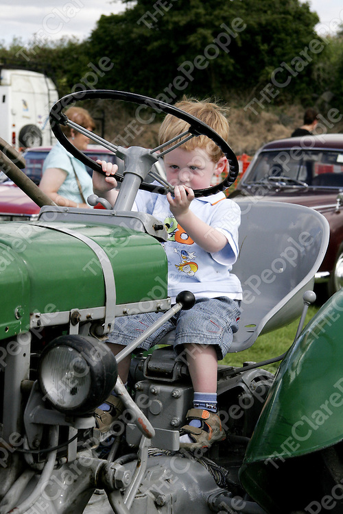 David Connolly from Kinvara was practicing his driving technique at the Gort Show on Sunday.<br /> 
