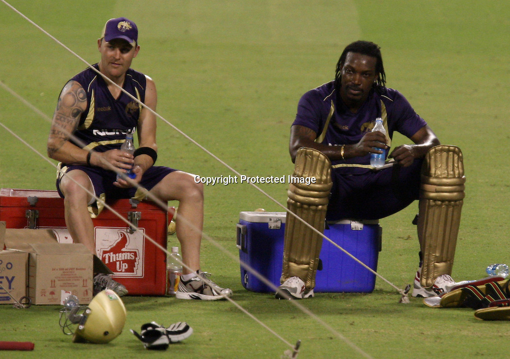 Kolkata Knight Riders Player B McCullum And C. Gayle  Duirng The Net Session on 04-06-2010 at-kolkata