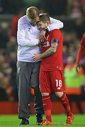 LIVERPOOL, ENGLAND - Thursday, November 26, 2015: Liverpool's manager Jürgen Klopp hugs Alberto Moreno after the 2-1 victory over FC Girondins de Bordeaux during the UEFA Europa League Group Stage Group B match at Anfield. (Pic by David Rawcliffe/Propaganda)
