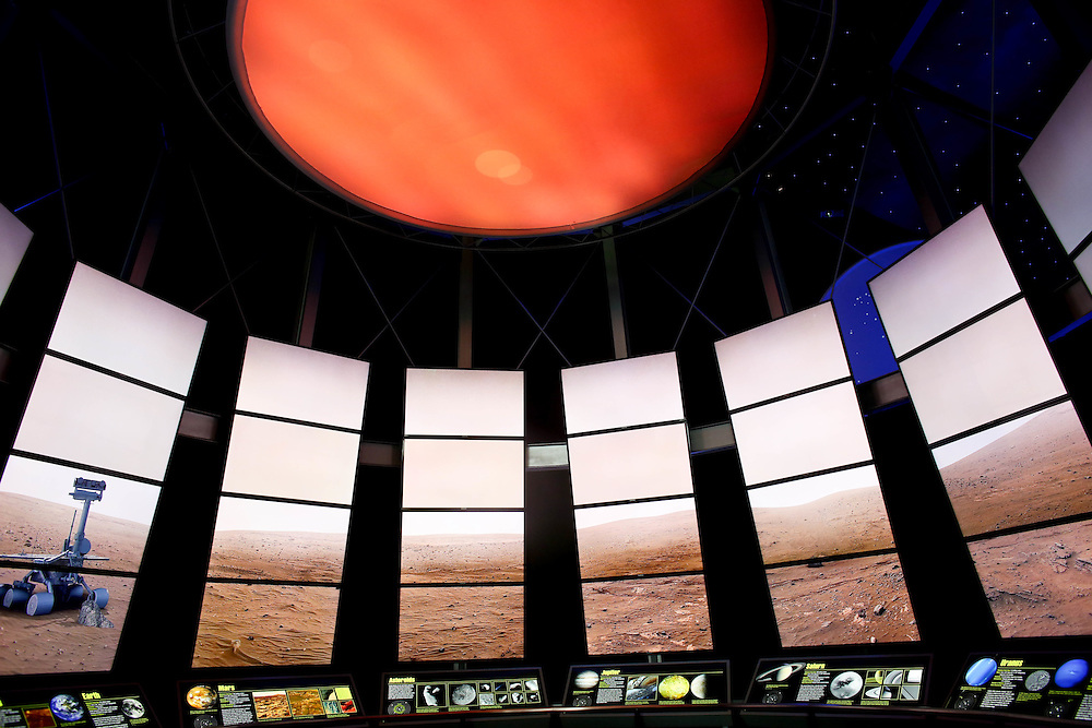 A view of t he Journey Through the Solar System exhibit in the Expanding Universe Hall at the Perot Museum of Science and Nature in Dallas, Texas
