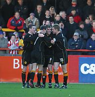 Photo: Jo Caird<br /> Cheltenham v Hull city<br /> Whaddon Rd<br /> Nationwide Div 3 2004<br /> 23/01/2004.<br /> <br /> Ben Burgess celebrates his goal