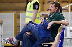Matjaz Smodis of Krka with his child during basketball match between KK Union Olimpija and KK Krka in 10th Round of Telemach League 2012/2013, on April 30, 2013, in Hala Tivoli, Ljubljana, Slovenia. (Photo By Vid Ponikvar / Sportida.com)