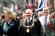 NEW YORK CITY - APRIL 9: Lord Provost and Lady Provost of Glasgow at the start of the Tartan Day Parade in New York City.