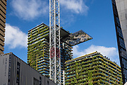 General Views showing One Central Park which is built around Chippendale Green. The bulding itself was designed by award-winning Parisian architect Jean Nouvel and the vertical gardens designed by the artist and botanist Patrick Blanc. Close up shot of a Heliostat reflecting light onto the vertical garden wall, Chippendale, Sydney, Australia.