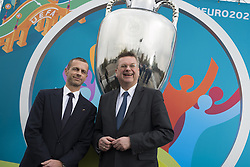 Aleksander Ceferin und Reinhard Grindel bei der UEFA Euro 2020 Logo Pr‰sentation f¸r die Spiele in M¸nchen / 271016<br /> <br /> ***Presentation of the Logo for the Munich games at the UEFA EURO 2020, October 27th, 2016***