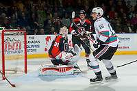 KELOWNA, CANADA - JANUARY 23: Nick Schneider #31 of Medicine Hat Tigers defends the net against the Kelowna Rockets on January 23, 2016 at Prospera Place in Kelowna, British Columbia, Canada.  (Photo by Marissa Baecker/Shoot the Breeze)  *** Local Caption *** Nick Schneider;