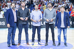 September 17, 2018 - Madrid, Spain - Alfonso Reyes, Albert Miralles, Juan Carlos Navarro and Alex Mumbru during the FIBA Basketball World Cup Qualifier match Spain against Latvia at Wizink Center in Madrid, Spain. September 17, 2018. (Credit Image: © Coolmedia/NurPhoto/ZUMA Press)