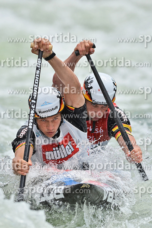 30.06.2013, Eiskanal, Augsburg, GER, ICF Kanuslalom Weltcup, Finale Kanu-Zweier Teams, Maenner. im Bild Kai MUELLER (vorne) und Kevin MUELLER (hinten) aus Deutschland, Finale, Team, Kanu, Canoe, C2, Teams, Herren, Deutschland // during the final of canoe double of the men kayak team of ICF Canoe Slalom World Cup at the ice track, Augsburg, Germany on 2013/06/30. EXPA Pictures © 2013, PhotoCredit: EXPA/ Eibner/ Matthias Merz<br /> <br /> ***** ATTENTION - OUT OF GER *****