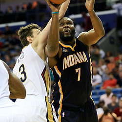 Oct 4, 2016; New Orleans, LA, USA;  Indiana Pacers center Al Jefferson (7) is defended by New Orleans Pelicans center Omer Asik (3) during the first quarter of a game at the Smoothie King Center. Mandatory Credit: Derick E. Hingle-USA TODAY Sports