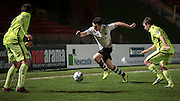 George Honeyman (Gateshead) takes on two of the Southport players down the wing during the Vanarama National League match between Gateshead and Southport at Gateshead International Stadium, Gateshead, United Kingdom on 8 December 2015. Photo by Mark P Doherty.