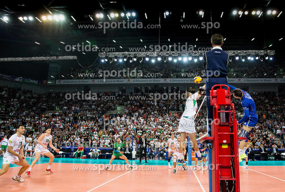 Georgi Bratoev of Bulgaria vs Kevin Tillie #7 of France during volleyball match between National teams of France and Bulgaria in 2nd Semifinal of 2015 CEV Volleyball European Championship - Men, on October 17, 2015 in Arena Armeec, Sofia, Bulgaria. Photo by Vid Ponikvar / Sportida