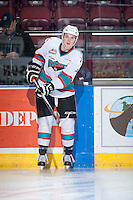 KELOWNA, CANADA - DECEMBER 28: Gordie Ballhorn #4 of Kelowna Rockets warms up against the Kamloops Blazers on December 28, 2015 at Prospera Place in Kelowna, British Columbia, Canada.  (Photo by Marissa Baecker/Shoot the Breeze)  *** Local Caption *** Gordie Ballhorn;