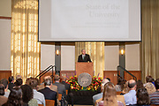 President Nellis delivers the State of the University address at the faculty staff convocation. Photo by Ben Siegel