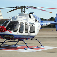 Adam Robison | BUY AT PHOTOS.DJOURNAL.COM<br /> The new Bell 407 GX sits on the pad at the Careflight headquarters in Tupelo on Thursday afternoon. It becomes the third medical helicopter to be assigned to Tupelo.