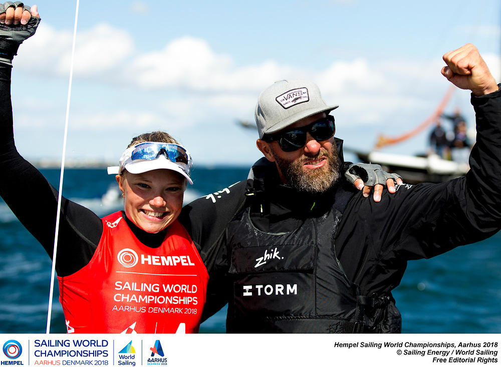 Aarhus, Denmark is hosting the 2018 Hempel Sailing World Championships from 30 July to 12 August 2018. More than 1,400 sailors from 85 nations are racing across ten Olympic sailing disciplines as well as Men's and Women's Kiteboarding. <br /> 40% of Tokyo 2020 Olympic Sailing Competition places will be awarded in Aarhus as well as 12 World Championship medals. ©PEDRO MARTINEZ/SAILING ENERGY/AARHUS 2018<br /> 10 August, 2018.
