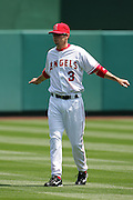 ANAHEIM, CA - APRIL 26:  Third baseman Brandon Wood #3 of the Los Angeles Angels of Anaheim stretches before the game against the Tampa Bay Devil Rays at Angel Stadium in Anaheim, California on April 26, 2007. The Angels defeated the Devil Rays 11-3. ©Paul Anthony Spinelli *** Local Caption *** Brandon Wood