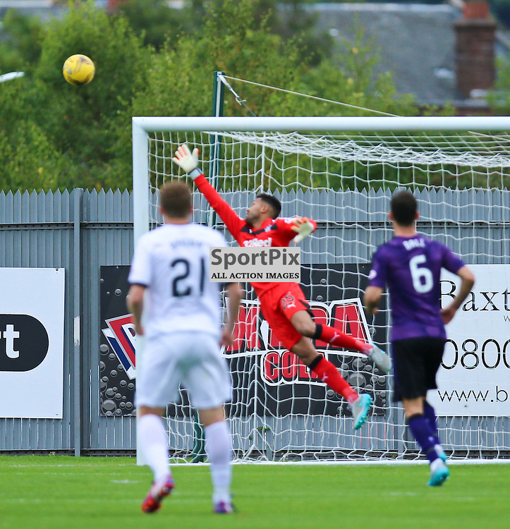 Willie Gibsons freekick hits the bar during the Dumbarton FC v Rangers FC Scottish Championship 19th September 2015 <br /> <br /> (c) Andy Scott | SportPix.org.uk